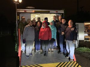 CERT Members Ray, Michelle, Jeanie, Dave, Hermie, Robin, Debbie, Michelle, Jarrett, Justin, TJ, and Lance showed up to help unload the CERT trailer in the rain